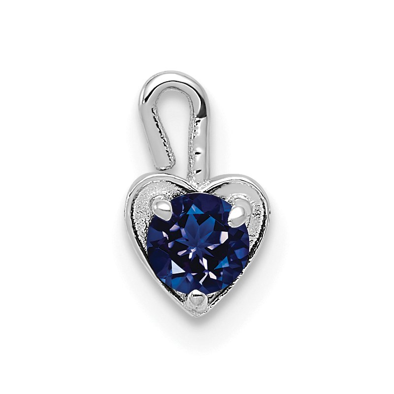 Quality Gold 14k White Gold September Synthetic Birthstone Heart Charm