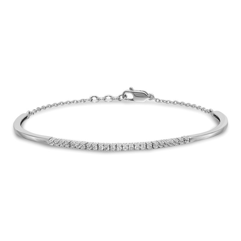 Quality Gold 14k White Gold Diamond Bangle Bracelet
