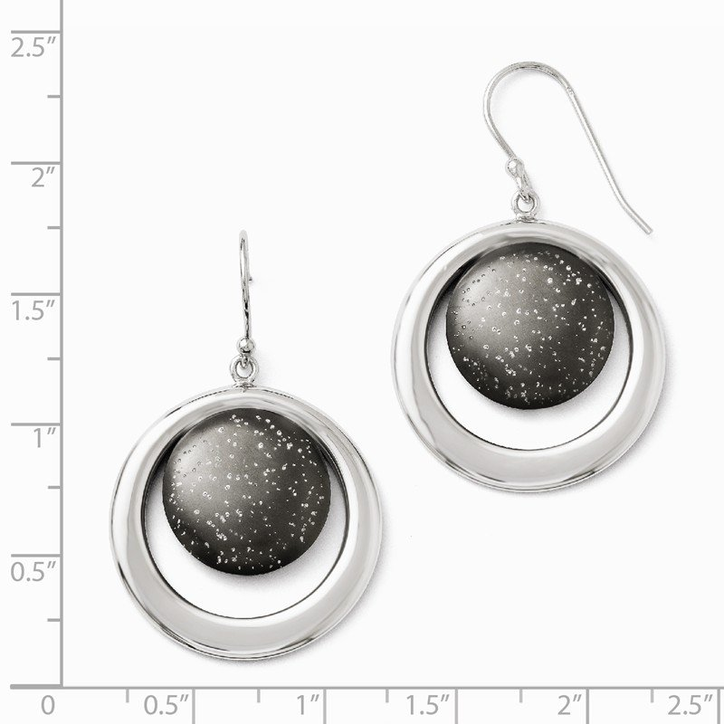 Leslie's Leslie's SS Rhodium & Ruthenium-plated Radiant Essence Earrings