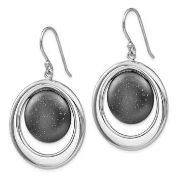 Leslie's SS Rhodium & Ruthenium-plated Radiant Essence Earrings