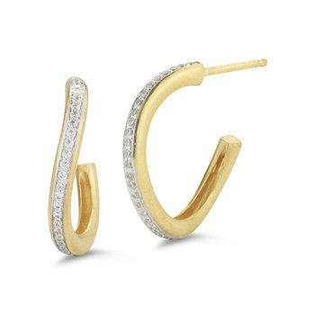 14K-Y WINDING HOOP EARR., 0.30CT