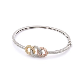 Diamond 3 Circle Tri Color Bangle