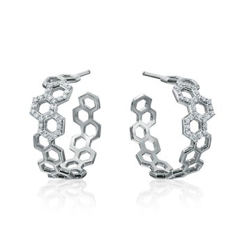 "Honeybee ""B"" Diamond Pavé Honeycomb Motif Hoops E805G"