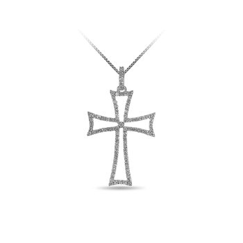 14K WG and diamond cross Curved double bars pendant in prong setting