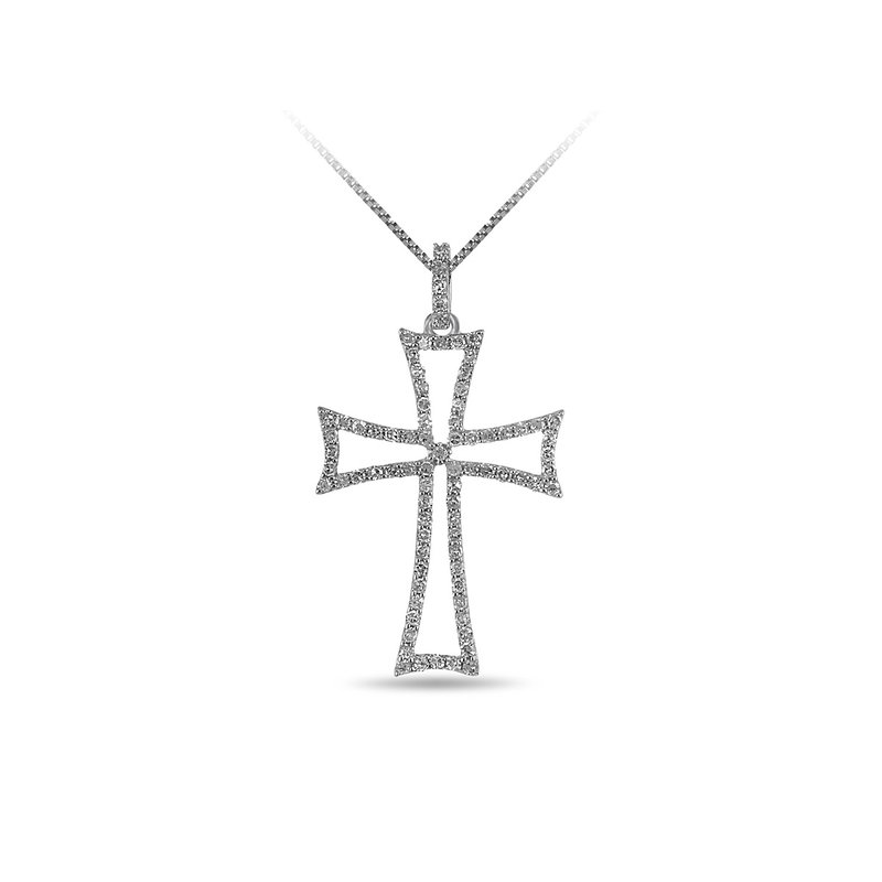 BB Impex 14K WG and diamond cross Curved double bars pendant in prong setting