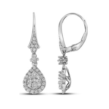 14kt White Gold Womens Round Diamond Teardrop Cluster Dangle Earrings 7/8 Cttw