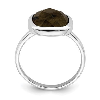 Sterling Silver Rhodium Plated Brown CZ Ring