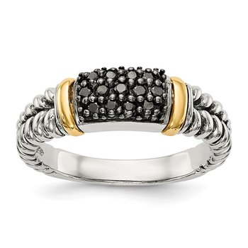 Sterling Silver w/14k Antiqued Black Diamond Ring