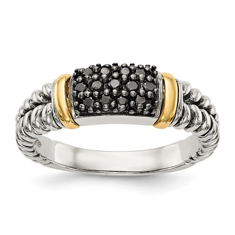 Shey Couture Sterling Silver w/14k Antiqued Black Diamond Ring