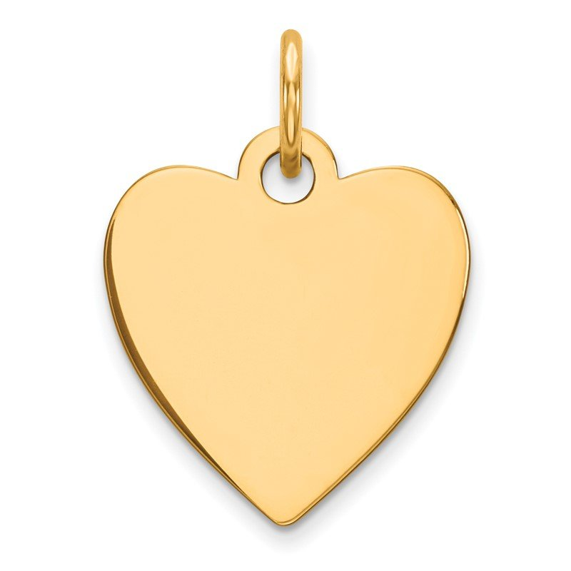 Quality Gold Sterling Silver GP Engraveable Heart Polished Disc Charm