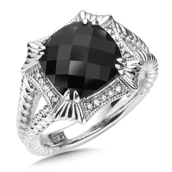 Sterling Silver Onyx & Diamond Ring