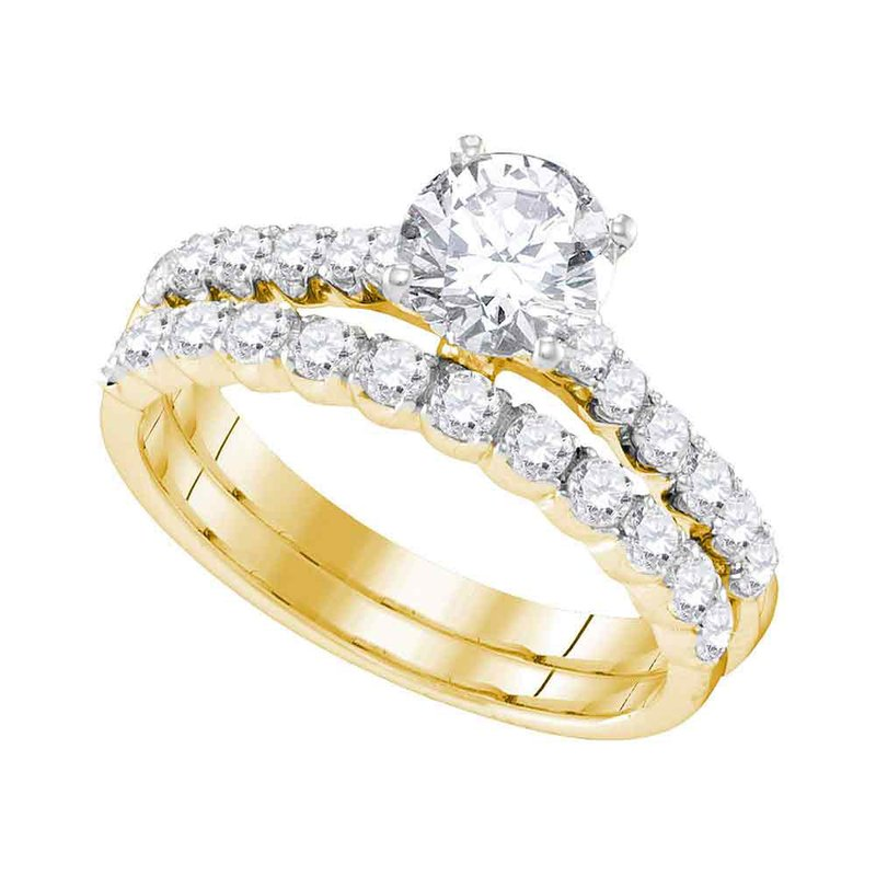 Gold N Diamonds Inc Atlanta 14kt Yellow Gold Womens Round Diamond Bridal Wedding Engagement Ring Band Set 2 1 5 Cttw Freeman And Foote Jewelers