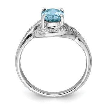 Sterling Silver Rhodium Light Swiss Blue Topaz & Diamond Ring