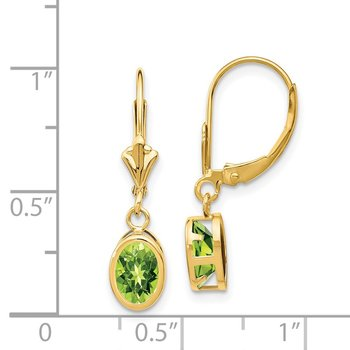 14k 7x5mm Oval Peridot Leverback Earrings