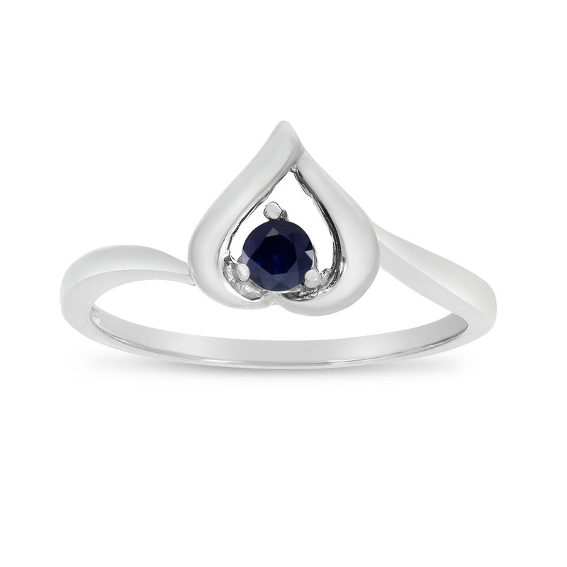 Color Merchants 10k White Gold Round Sapphire Heart Ring
