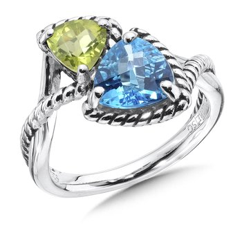 Sterling silver, blue topaz and peridot ring.