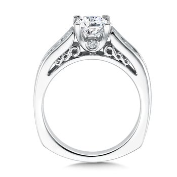 Mounting with side stones .68 ct. tw., 1 ct. Princess cut center.