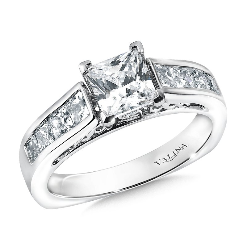 Valina Bridals Mounting with side stones .68 ct. tw., 1 ct. Princess cut center.