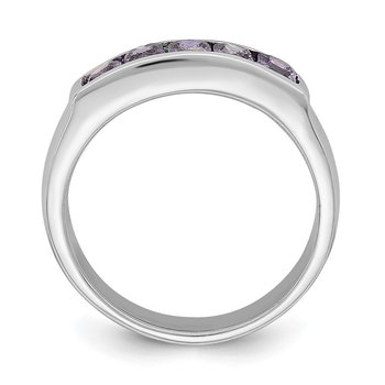 Sterling Silver Polished Purple CZ Ring