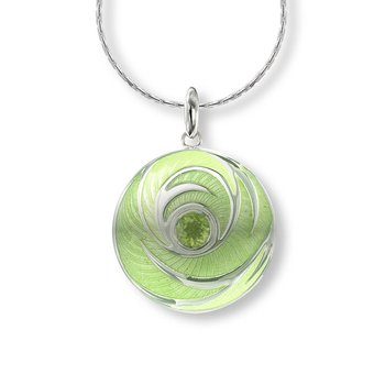Green Round Necklace.Sterling Silver-Peridot
