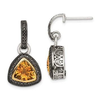 Sterling Silver w/ 14K Accent Citrine Dangle Earrings