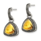 Quality Gold Sterling Silver w/ 14K Accent Citrine Dangle Earrings