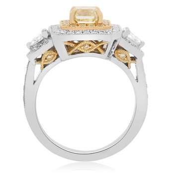Two Tone Milgrain Diamond Ring