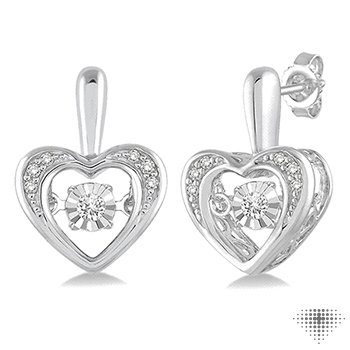 Silver Emotion Diamond Heart Earrings