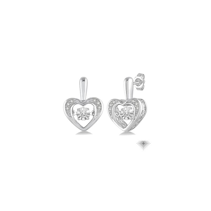 Emotion Diamonds Silver Emotion Diamond Heart Earrings