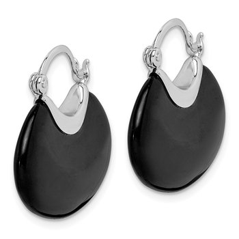 Sterling Silver Rhodium-plated Onyx Hoop Earrings