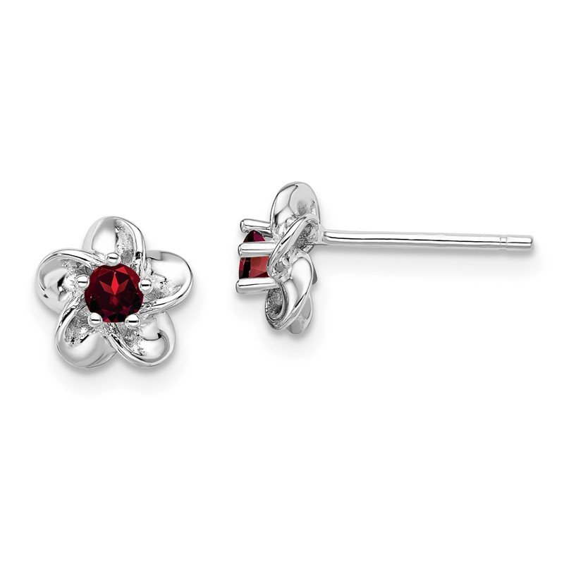 Quality Gold Sterling Silver Rhodium-plated Floral Garnet Post Earrings