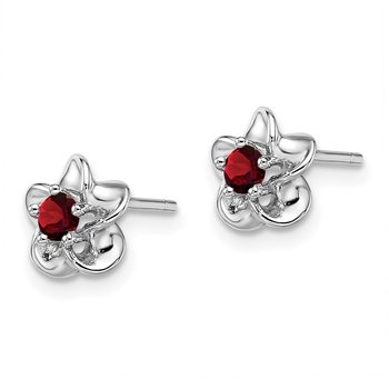 Sterling Silver Rhodium-plated Floral Garnet Post Earrings