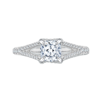 Split Shank Cushion Cut Diamond Engagement Ring In 18K White Gold (Semi-Mount)