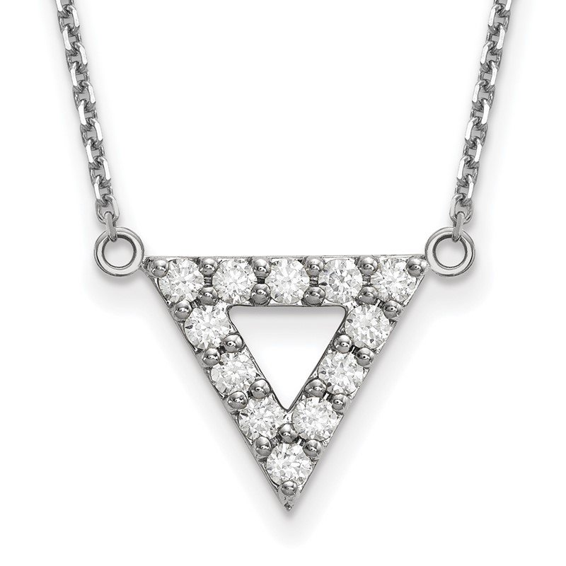 Quality Gold 14k White Gold AA Quality Diamond 13mm Triangle Necklace