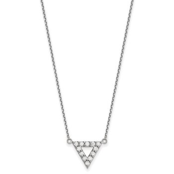 14k White Gold AA Quality Diamond 13mm Triangle Necklace
