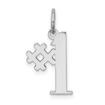 Sterling Silver Rhodium-plated # 1 Polished Charm