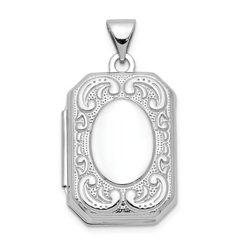 14K White Gold 20mm Book Scroll Border Locket