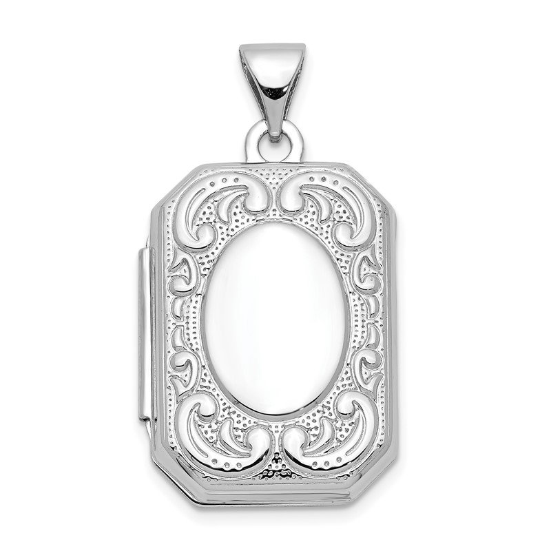 Quality Gold 14K White Gold 20mm Book Scroll Border Locket