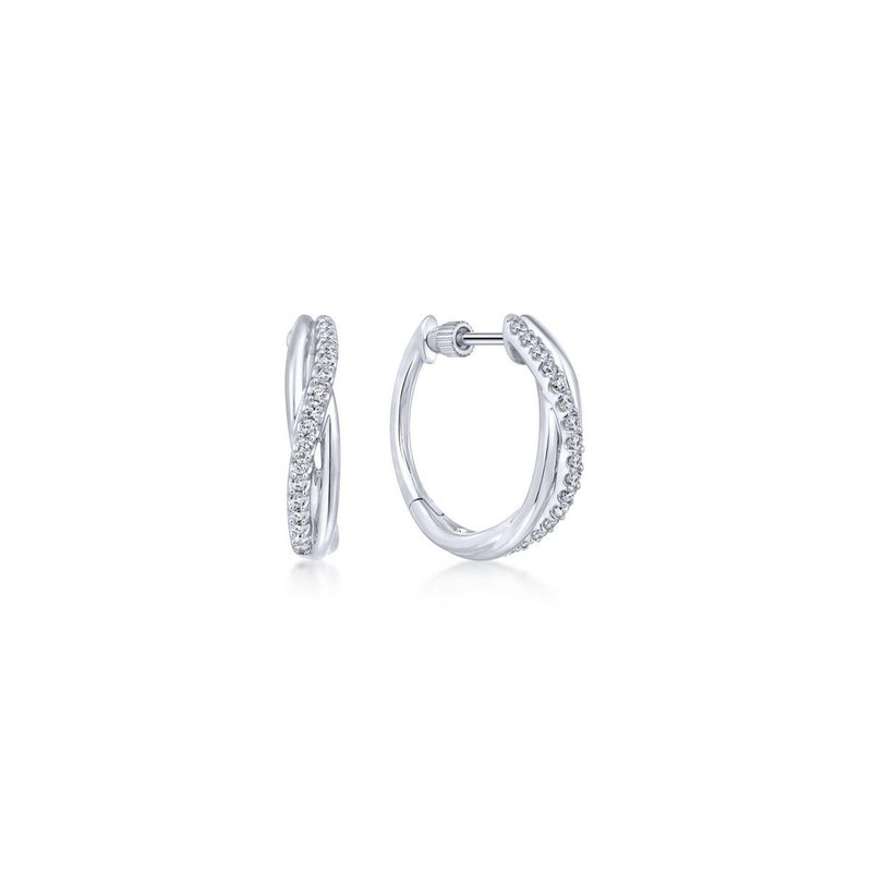 Gabriel Fashion 925 Sterling Silver Twisted 15mm White Sapphire Huggie Earrings