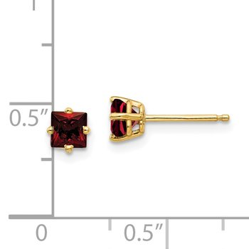 14k 4mm Princess Cut Garnet Earrings