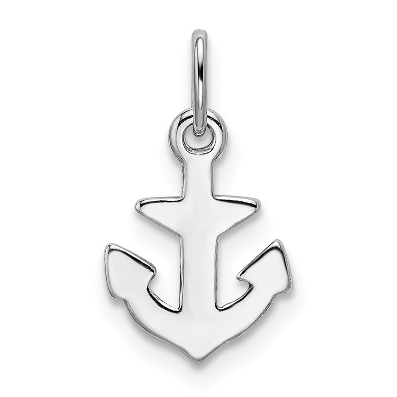 Quality Gold Sterling Silver Rhod-plated Polished Anchor Charm