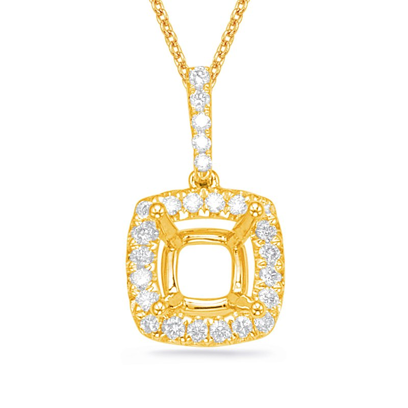 S. Kashi  & Sons Diamond Pendant For 4.4mm Cushion