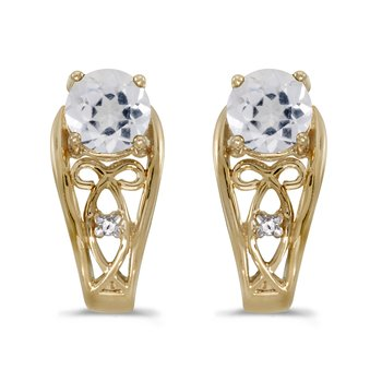 14k Yellow Gold Round White Topaz And Diamond Earrings
