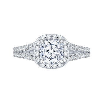 18K White Gold Cushion Cut Diamond Halo Engagement Ring with Split Shank (Semi-Mount)