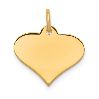 14k Plain .013 Gauge Engraveable Heart Disc Charm