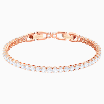 Tennis Bracelet, White, Rose-gold tone plated