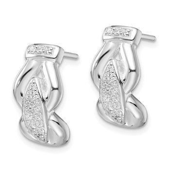Sterling silver Rhodium-plated Polished Fancy CZ Post Earrings