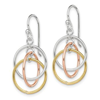 Sterling Silver Gold and Rose Gold Vermeil Circles Dangle Earrings