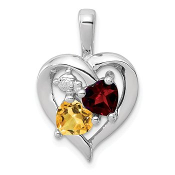 Sterling Silver Rhodium-plated Garnet, Citrine & Diamond Pendant