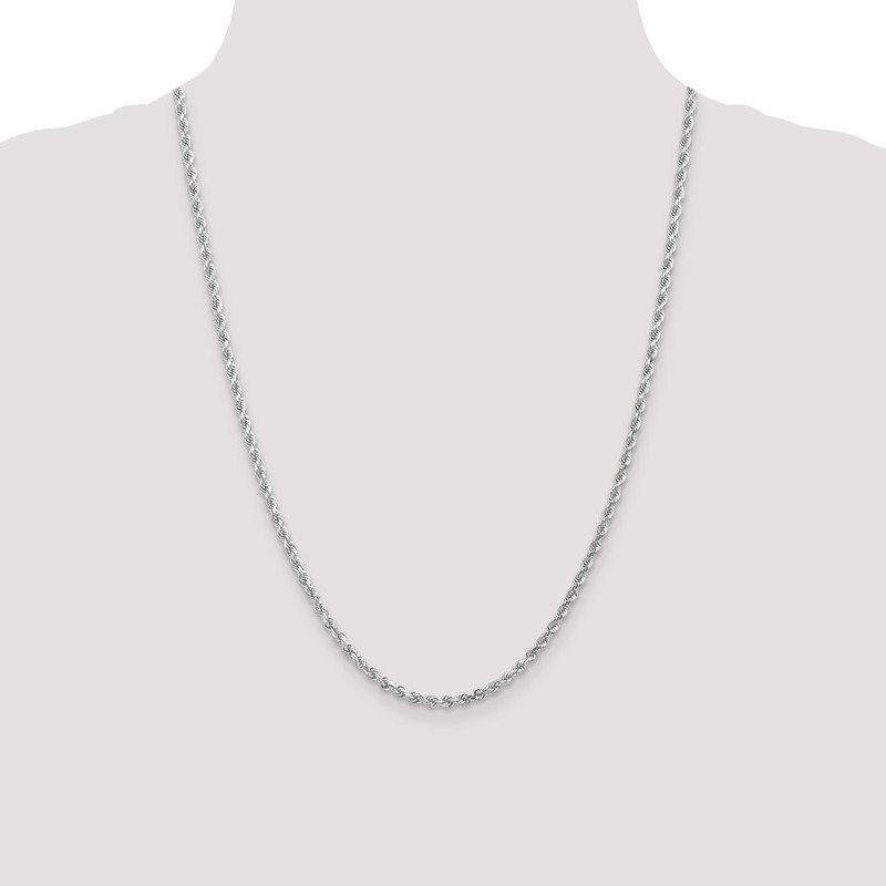 Leslie's Leslie's 14K White Gold 3mm Diamond- cut Rope Chain